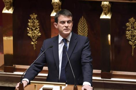 French Prime Minister Manuel Valls delivers a speech to the French national assembly in Paris, on...